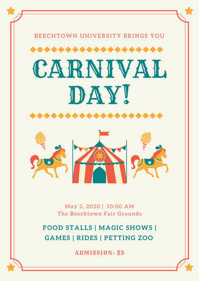 Colorful Bordered Carnival Poster Templates By Canva