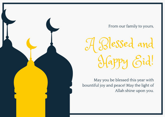 Dark Blue And Yellow Eid Mubarak Card Templates By Canva