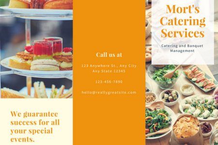Customize 53  Catering Menu templates online   Canva Orange Food Photo Catering Trifold Brochure