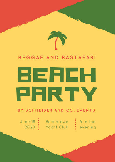 Red Green Reggae Rastafari Block Party Flyer Templates