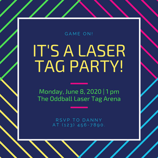 Blue With Neon Lines Laser Tag Invitation Templates By Canva