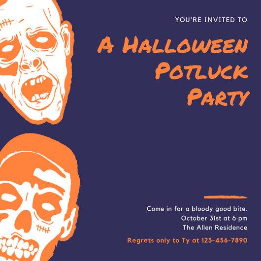 Potluck Printable Templates Halloween Invitations
