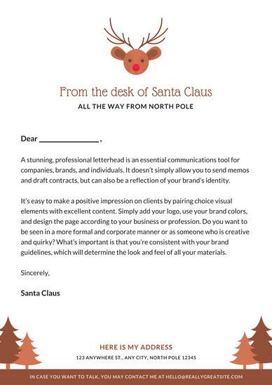 Send santa a letter online poemsrom brown reindeer icon santa letter letterhead spiritdancerdesigns Image collections