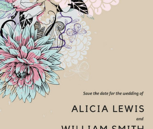 Floral Illustration Save The Date Invitation