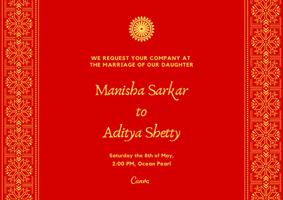 Yellow And Red Indian Wedding Invitation Card