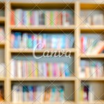 Blurred Library With Book For Education Learning Background