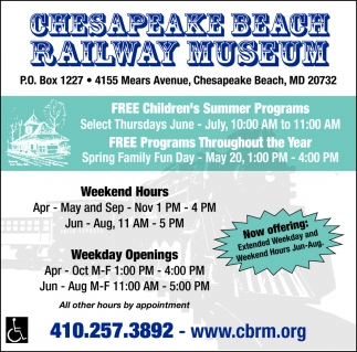 FREE Children's Summer Programs, Chesapeake Beach Railway Museum, Chesapeake Beach, MD