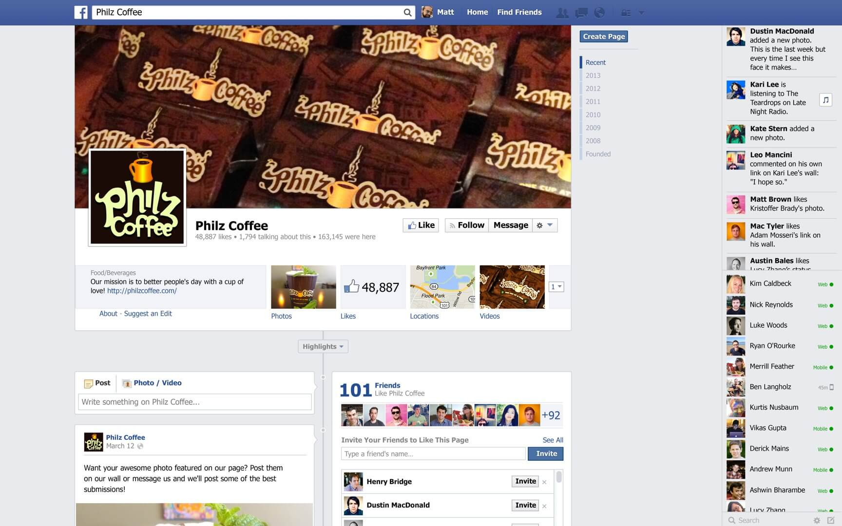 picture of a Facebook page for business