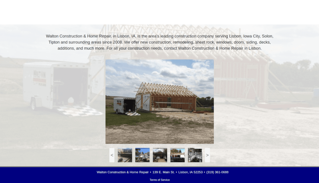 screenshot of Walton Construction's old website's homepage