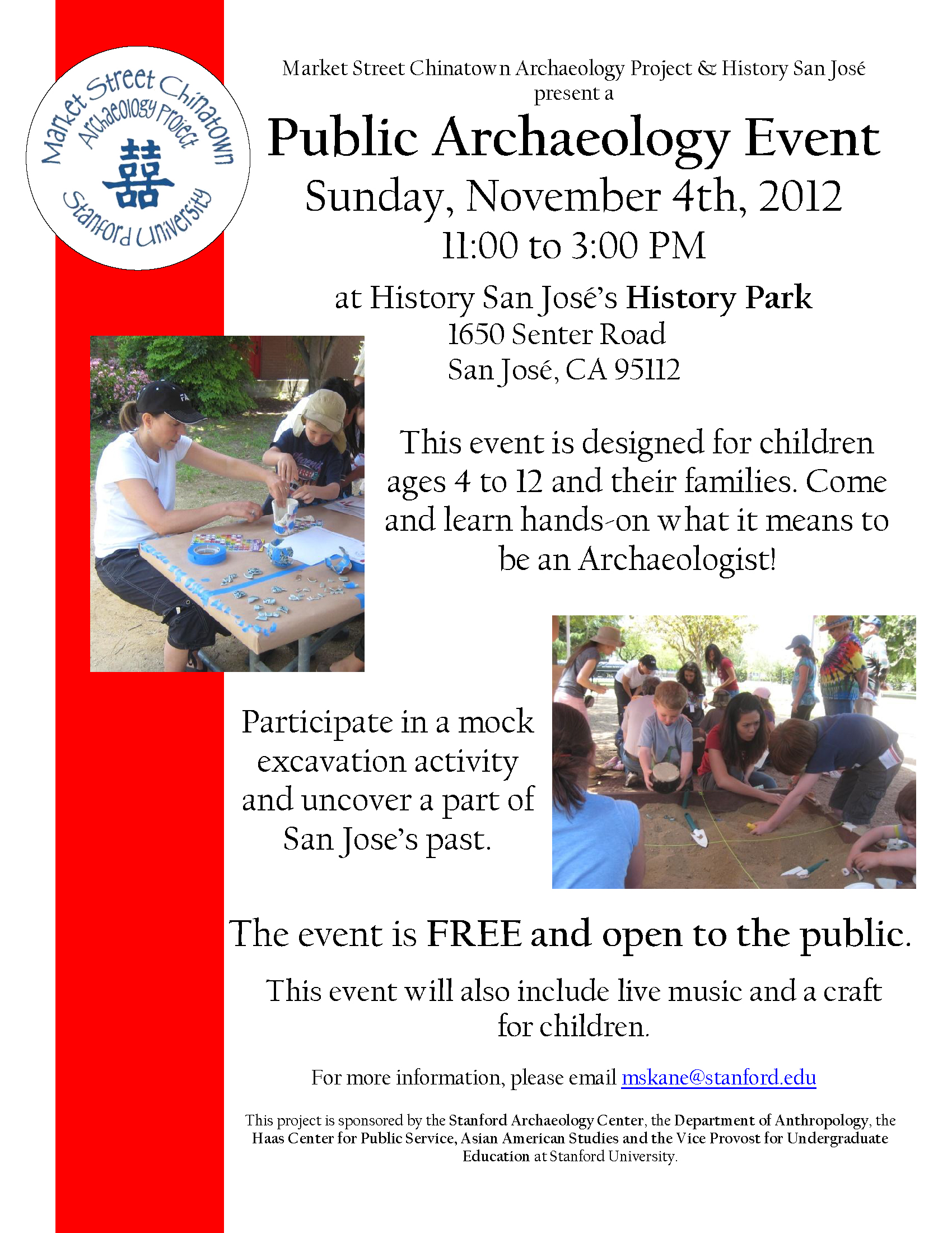 Sunday November 4th Free Public Archaeology Event For
