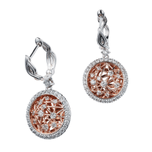 Rose and White Gold Diamond Earrings