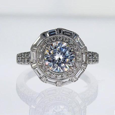 Unique Baguette Halo Diamond Engagement Ring