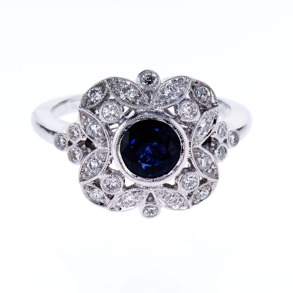 carat ring white gold sapphire and diamond