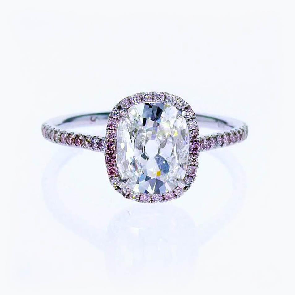 Preferred Vintage Cushion Cut Diamond Halo Engagement Ring, 18k White Gold  XY04