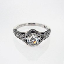 Rose Cut Diamond motif engagement ring