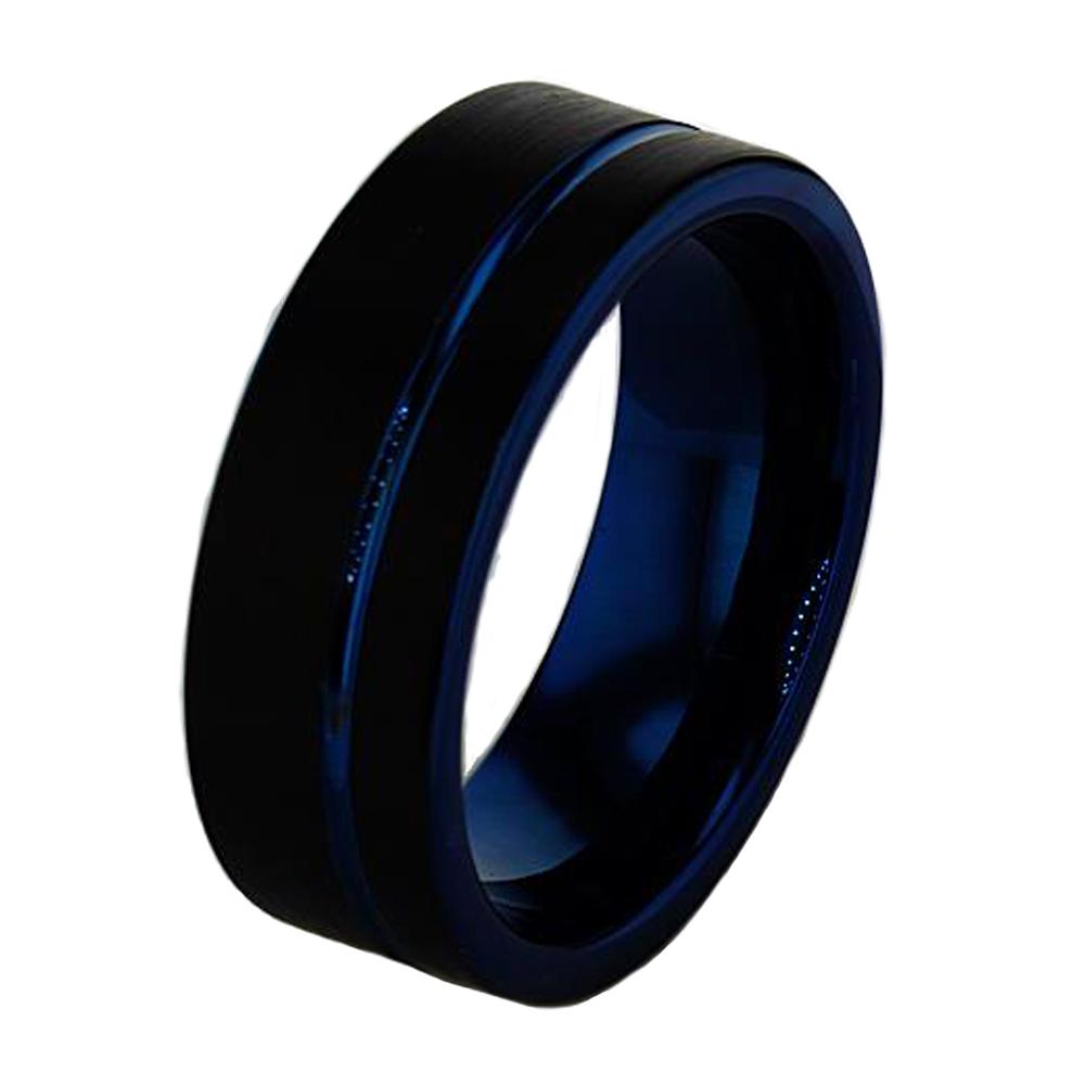 Black And Dark Blue Tungsten Wedding Band 8mm Market Street Diamonds