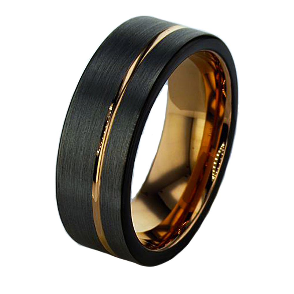 Tungston Carbide Wedding Rings.Rose Gold Plated Tungsten Men S Wedding Band