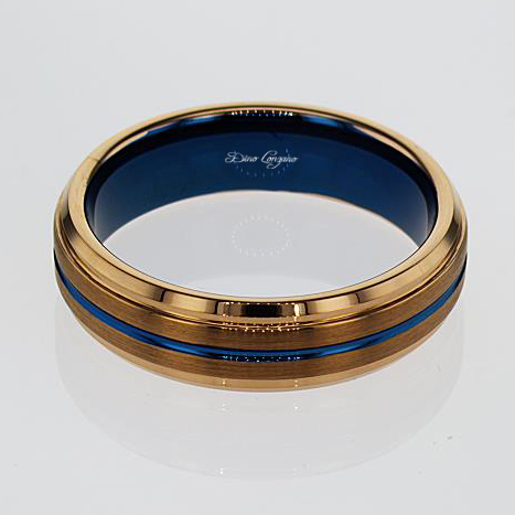Blue And Rose Gold Color Tungsten Mens Wedding Band 6mm Market
