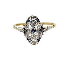 1930s Vintage Diamond Ring with Blue Sapphires