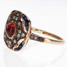 Vermeil Genuine Gemstone Ring, Vintage Inspired