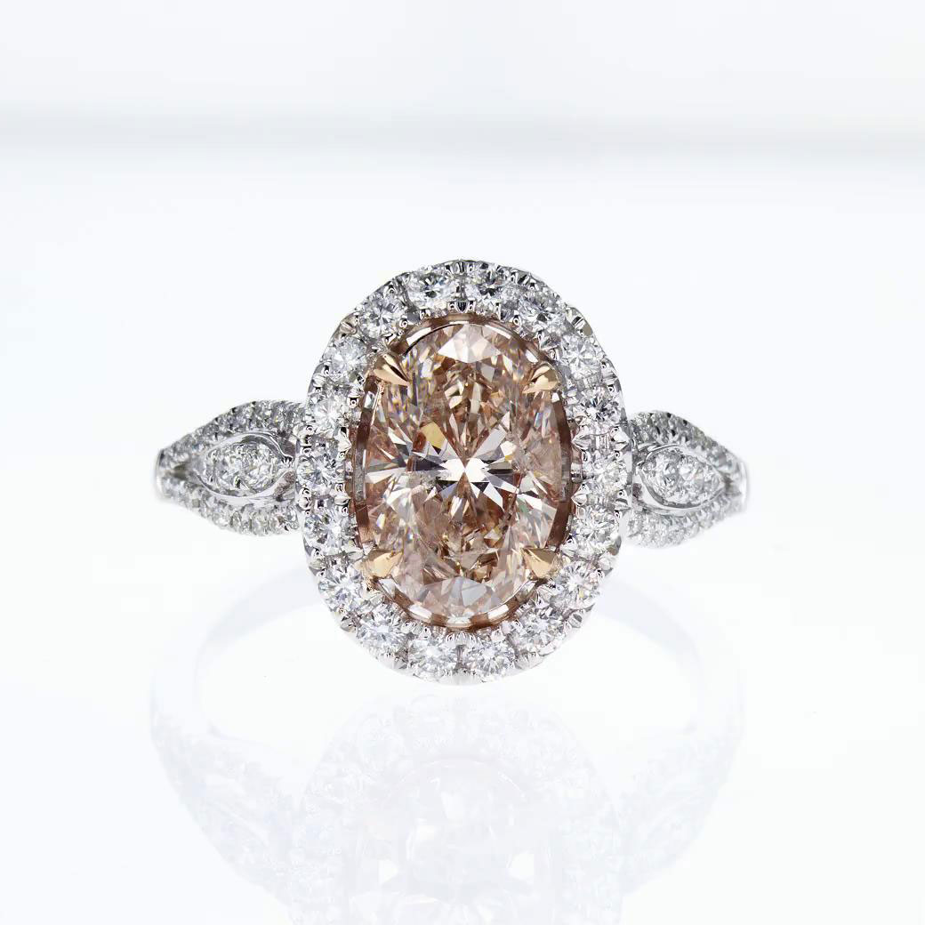 engagement upon a halo fancy rings brown once gold ring products color diamond tri in