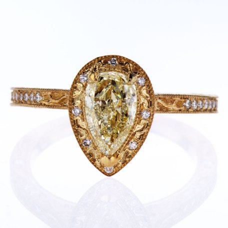 Yellow Gold Engagement Ring with unique ornamental work