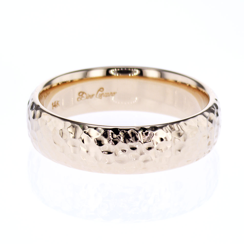 Hammered finish Mens Wedding Ring 14k Yellow Gold Market Street
