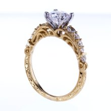 Two Tone openwork Filigree Engagement Ring, 18K Yellow Gold