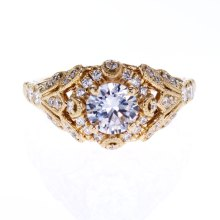 Vintage Inspired Ankora Halo Engagement Ring