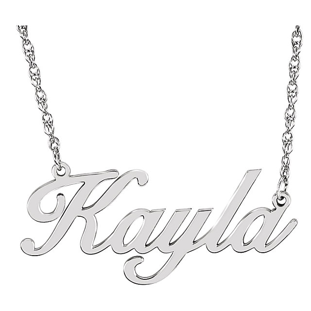 64e813bbccb1f Custom Nameplate Necklace, 14K White Gold