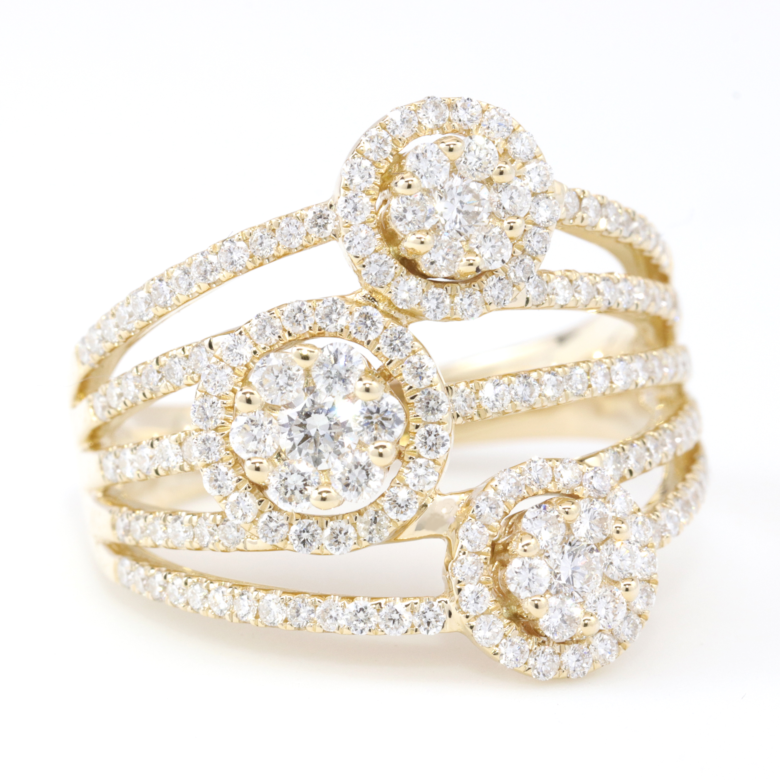 unique ring jewelers denver frame surrounding rings center diamonds scalloped yellow gold halo colorado platinum cronin greater diamond portfolio in holding round circular engagement with