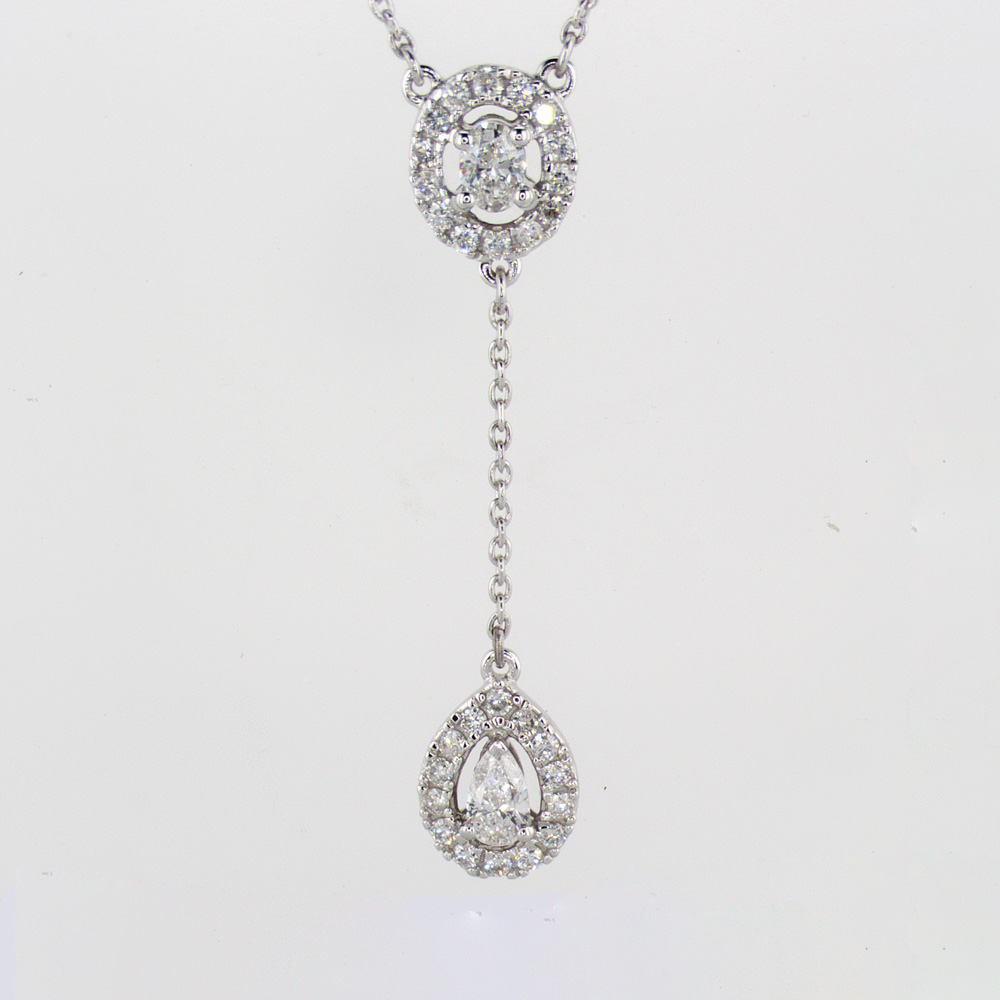 Diamond Drop Pendant Necklace, 14k White Gold
