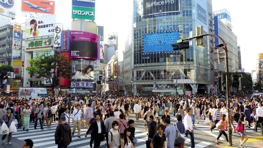 A busy street in Japan.