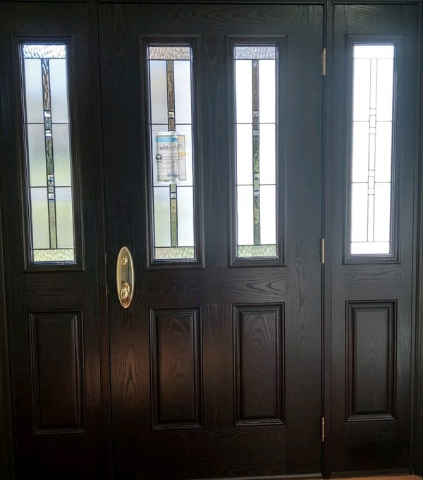 provia entry door with 2 sidelights in
