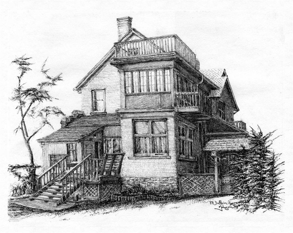 """House Portrait - pencil, 14"""" x 11"""""""