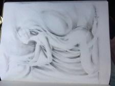 "Kneeling Figure Sketch pencil & graphite powder 8-1/2""x11"""