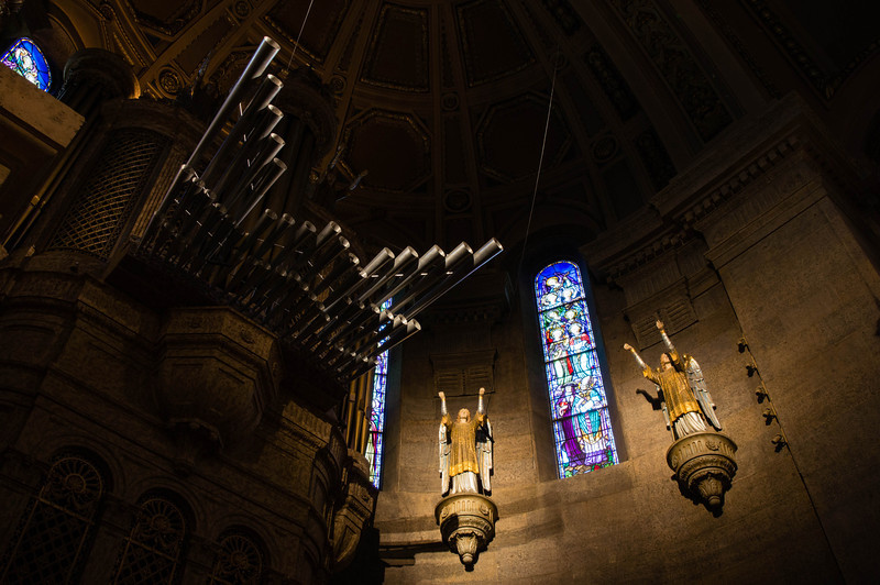 Basilica of St Mary, Organ Pipes, Stained Glass, Statue
