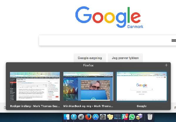 HyperDock laver forhåndsvisning på åbner vinduer i et program. I dette tilfælde Firefox.