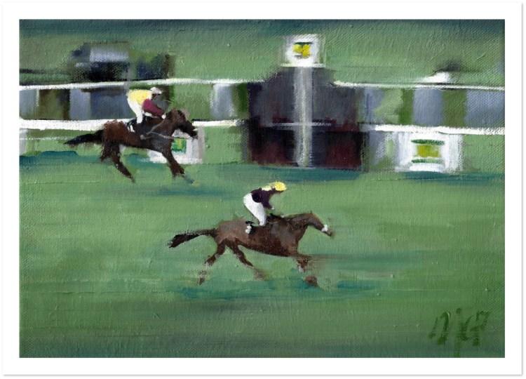 An art print depicting Red Rum winning the 1973 Grand National horse race