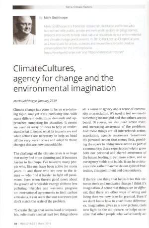 ClimateCultures, agency for change and the environmental imagination