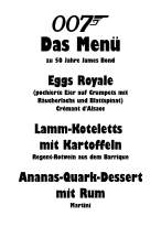 Die Speisekarte zum James-Bond-Menü