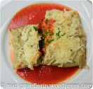 Maultaschen mit Käse gratiniert an Tomatensauce / Pelmeni with cheese and tomato sauce