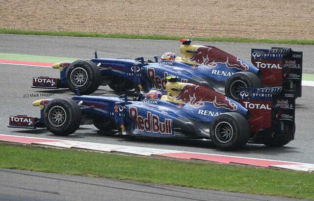 Sebastian Vettel and Mark Webber at the 2012 British Grand Prix