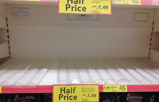 Empty shelves at Tesco