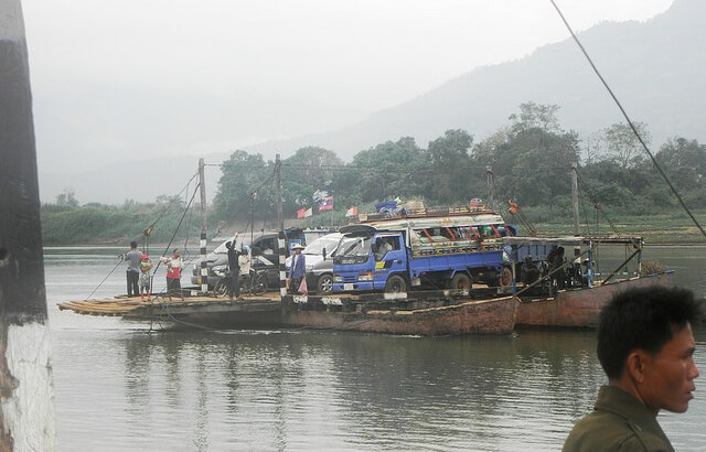 A ferry in Laos