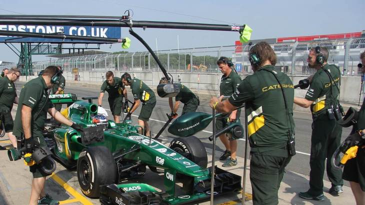 In the Caterham Garage at the Young Driver Tests 2013