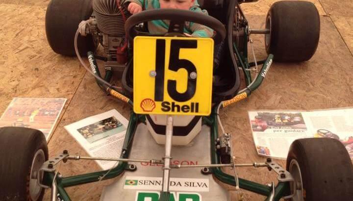 Xander in Ayrton Senna's 1979 Racing Cart