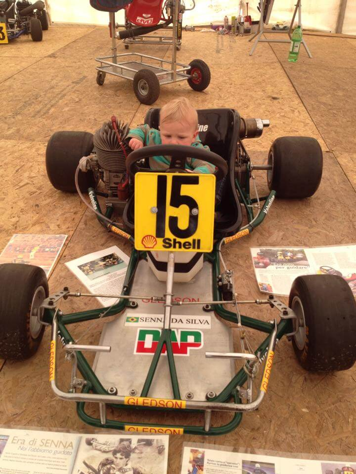 Xander in Ayrton Senna's 1979 Racing Cart