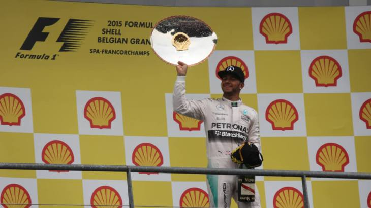 Lewis Hamilton with his trophy from the 2015 Belgium Grand Prix
