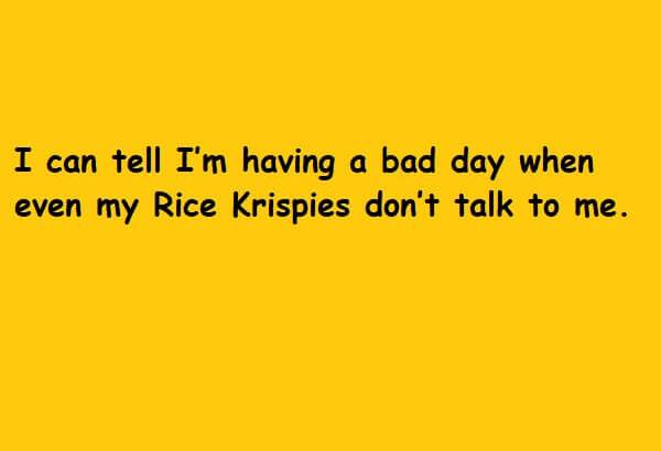 even my Rice Krispies don't talk to me